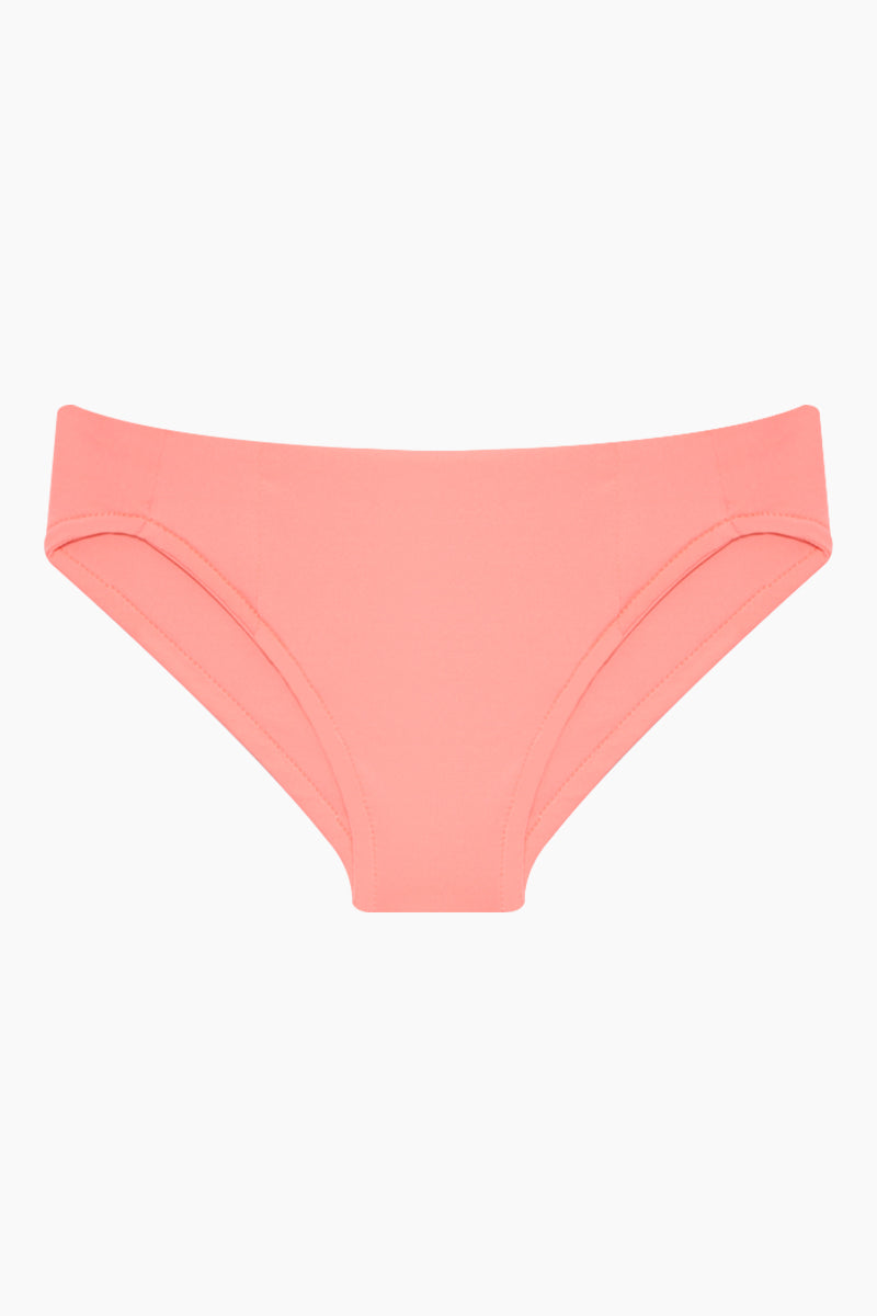 MAYLANA KIDS Marvie Criss Cross Back Bikini Set (Kids) - Salmon Kids Bikini | Salmon | Maylana Kids Marvie Criss Cross Back Bikini Set (Kids) - Salmon Kid's Bikini Set Criss Cross Back Detail Hipster Bottom Ruched Back Bottom View