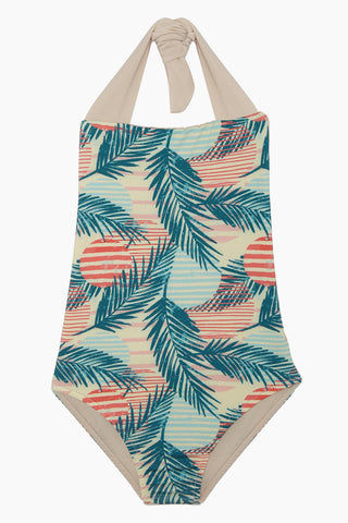 MAYLANA KIDS Layla Open Back One Piece Swimsuit (Kids) - Pink Sunset Kids One Piece | Pink Sunset| Maylana Kids Layla Open Back One Piece Swimsuit (Kids) - Pink Sunset Kid's One Piece Thick Halter Ties Open Back Ruffle Back Detail Front View
