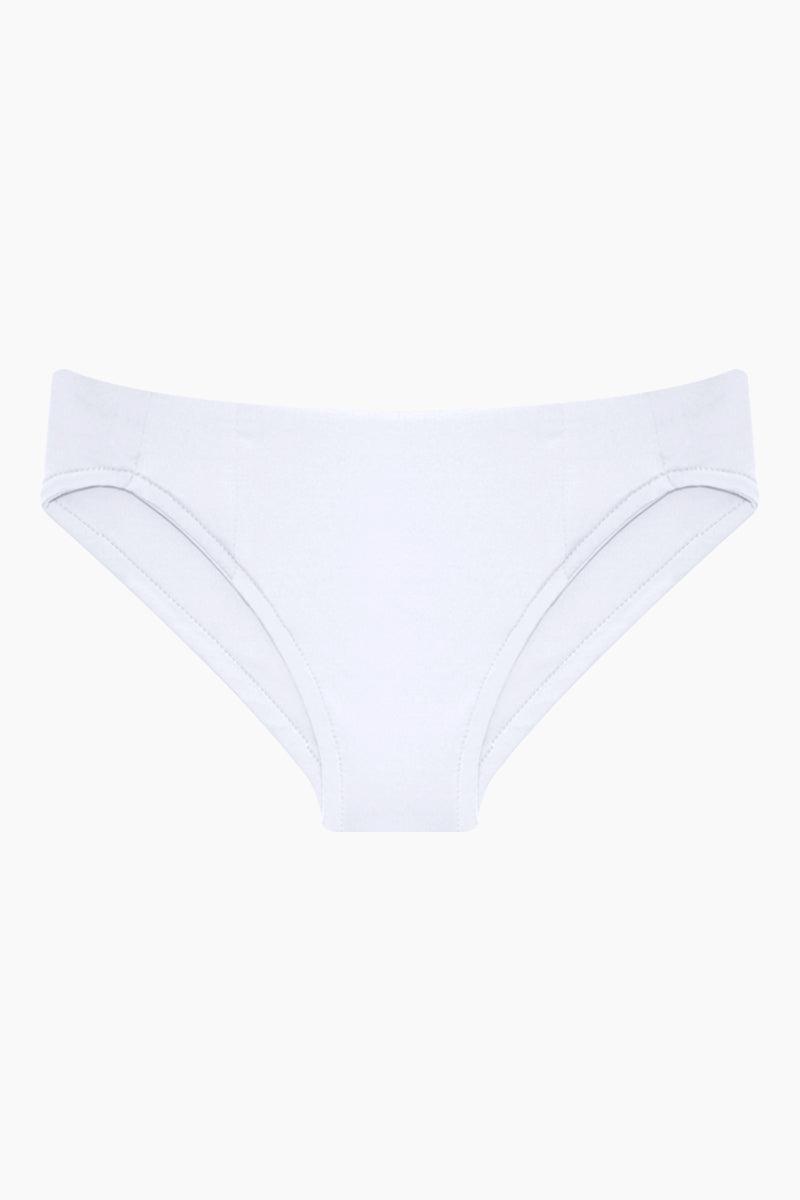 MAYLANA KIDS Rasha Bikini Set (Kids) - White Kids Bikini | White | Maylana Kids Rasha Bikini Set (Kids) - White Features: Kid's Rashguard & Bikini Bottom  High Neck Longsleeves  Mid Rise Bottom Bottom View
