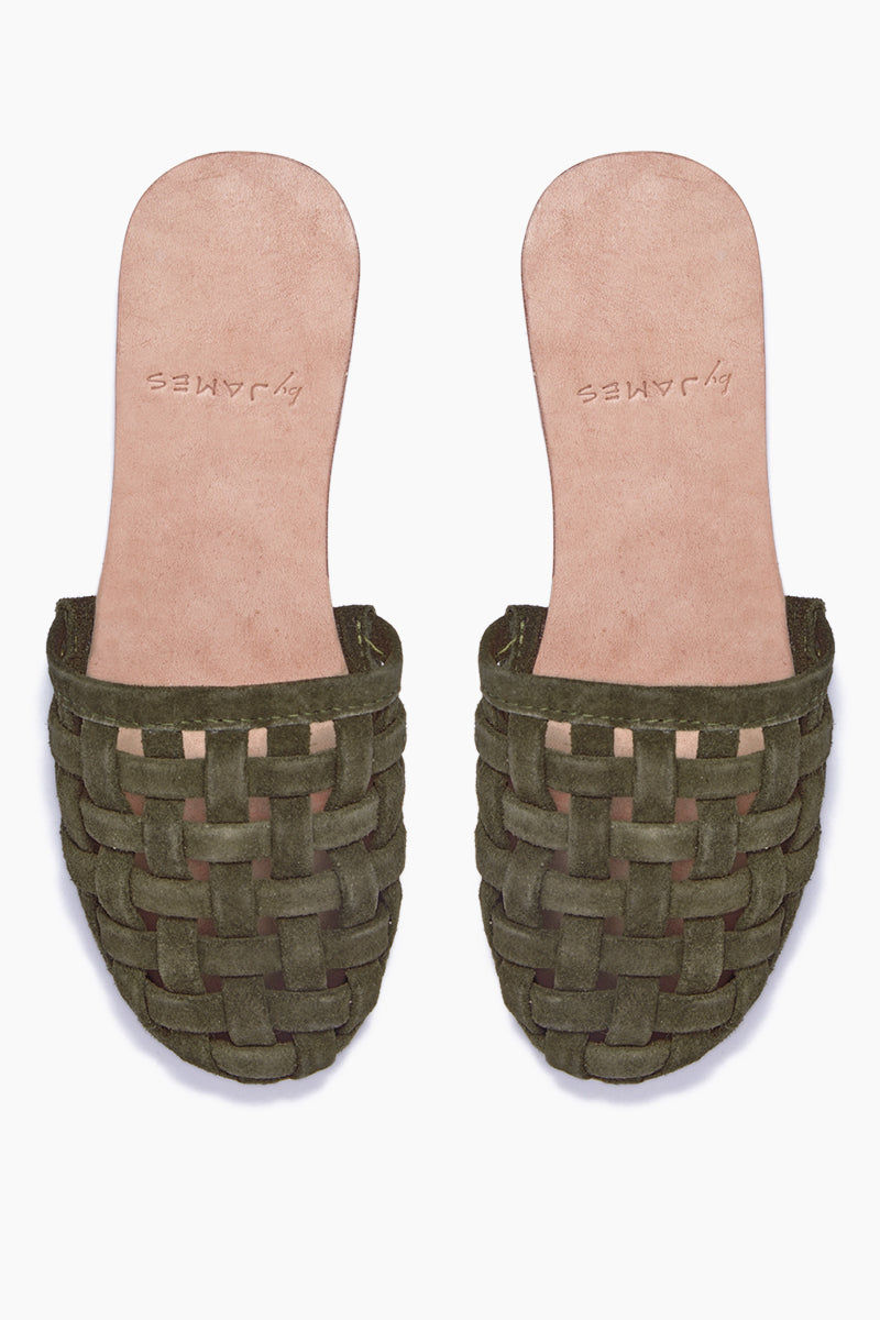 BYJAMES Cage Strappy Sandals - Olive Sandals |  Olive| ByJAMES Cage Strappy Sandals - Olive Closed Toe Slip On Sandals Multi Soft Suede Straps in Black  Leather Insole  Handcrafted in Valladolid, Mexico Front View