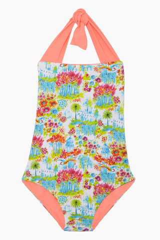 MAYLANA KIDS Layla Open Back One Piece Swimsuit (Kids) - Botanic Gardens Kids One Piece | Botanic Gardens| Maylana Kids Layla Open Back One Piece Swimsuit (Kids) - Botanic Gardens Kid's One Piece Thick Halter Ties Open Back Ruffle Back Detail Front View