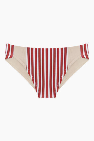 MAYLANA KIDS Rasha Bikini Set (Kids) - Red Stripes Kids Bikini | Red Stripes | Maylana Kids Rasha Bikini Set (Kids) - Red Stripes Features: Kid's Rashguard & Bikini Bottom  High Neck Longsleeves  Mid Rise Bottom Bottom View