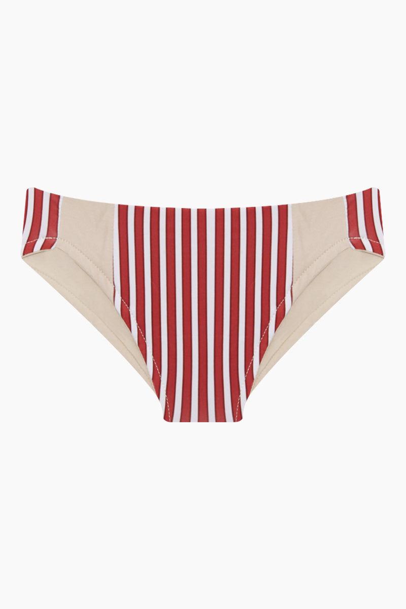 MAYLANA KIDS Marvie Criss Cross Back Bikini Set (Kids) - Red Stripes Kids Bikini | Red Stripes | Maylana Kids Marvie Criss Cross Back Bikini Set (Kids) - Red Stripes Kid's Bikini Set Criss Cross Back Detail Hipster Bottom Ruched Back Bottom View