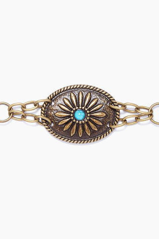 LOVESTRENGTH Camilla Metal Belt - Bronze Accessories | Bronze| Camilla Metal Belt - Bronze  Antique nickel metal concho belt With turquoise stones Lobster clasp adjustable closure Made in USA Close View