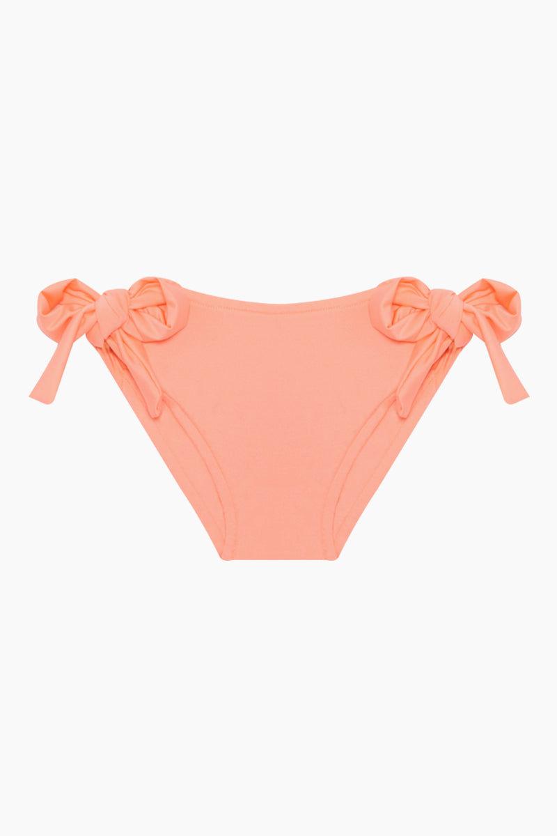 MAYLANA KIDS Kerri Bandeau Bikini Set (Kids) - Peach Kids Bikini | Peach | Maylana Kids Kerri Bandeau Bikini Set (Kids) - Peach Halter neck tie Bandeau style Ruffle style  Tie side bottom Bottom View