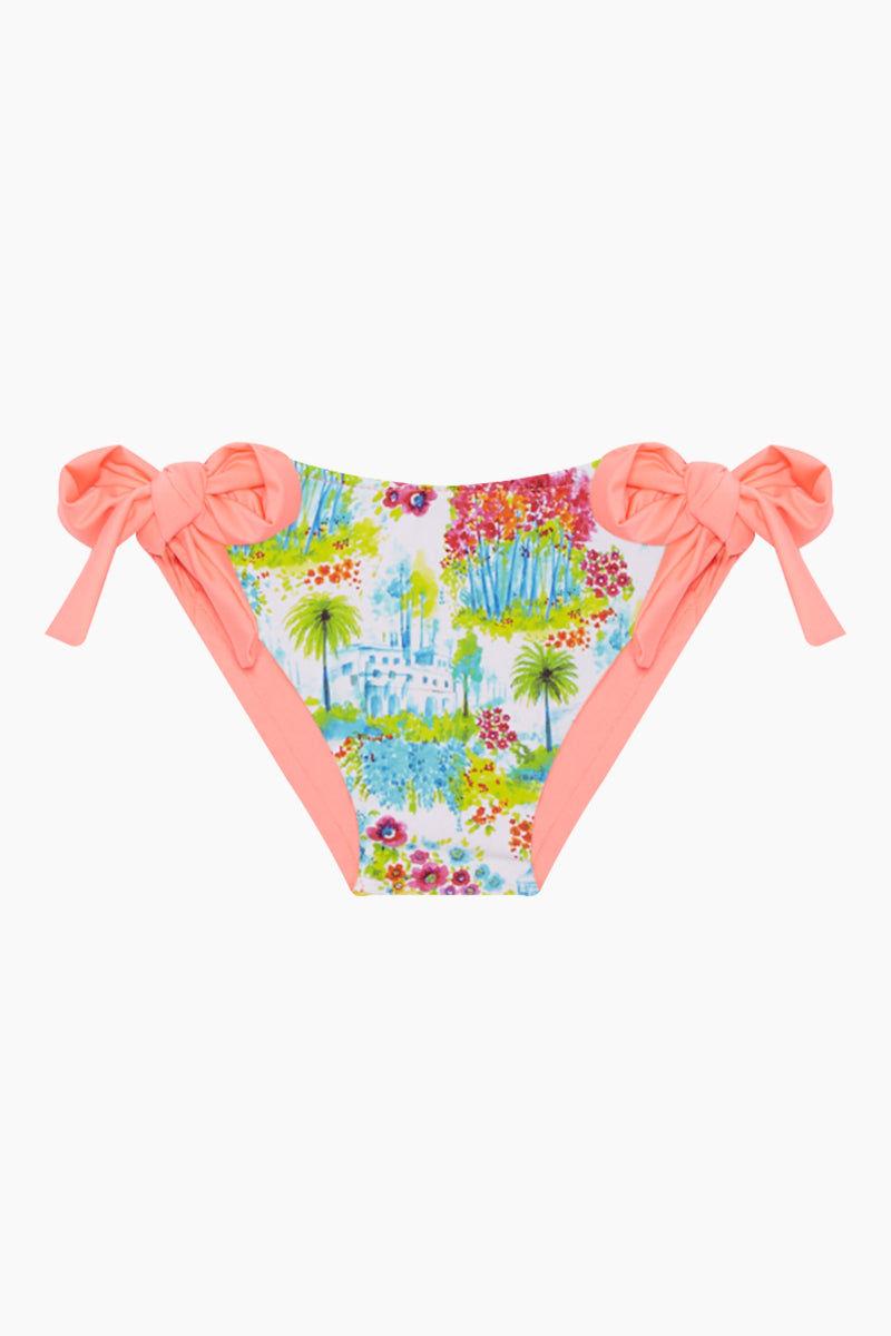 MAYLANA KIDS Kerri Bandeau Bikini Set (Kids) - Botanic Gardens Kids Bikini | Botanic Gardens| Maylana Kids Kerri Bandeau Bikini Set (Kids) - Botanic Gardens Halter neck tie Bandeau style Ruffle style  Tie side bottom Bottom View