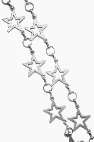 LOVESTRENGTH Dancing Star Metal Belt - Antique Nickel Accessories | Antique Nickel| Dancing Star Metal Belt - Antique Nickel Antique nickel 2 tier belt with stars Adjustable closure Close View View