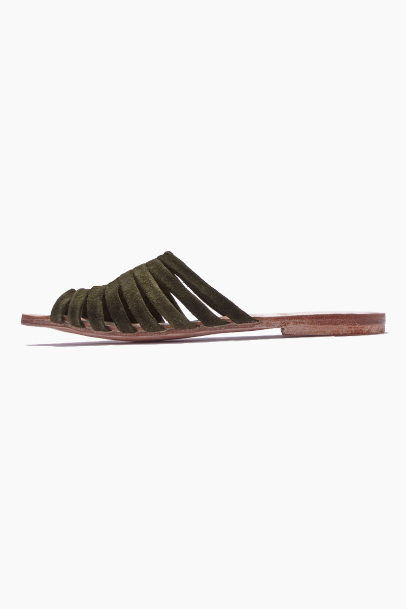 BYJAMES Lynne Pointed Toe Sandals - Olive Sandals | Olive| ByJAMES Lynne Pointed Toe Sandals - Olive Pointed Toe Sandals  Open Toe  Multi Soft Suede Straps in Olive Leather Insole  Handcrafted in Valladolid, Mexico Side View
