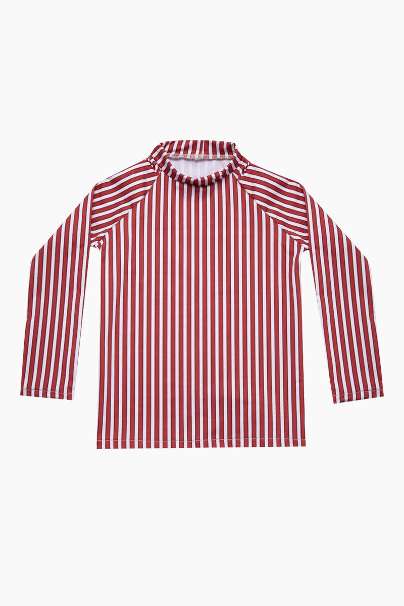MAYLANA KIDS Rasha Bikini Set (Kids) - Red Stripes Kids Bikini | Red Stripes | Maylana Kids Rasha Bikini Set (Kids) - Red Stripes Features: Kid's Rashguard & Bikini Bottom  High Neck Longsleeves  Mid Rise Bottom Top View