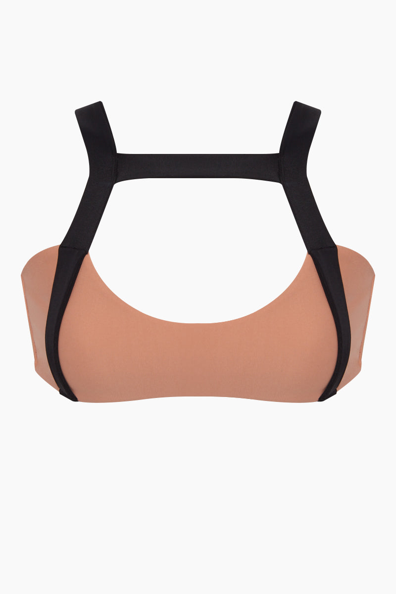 ISSA DE' MAR Waimea Front Strap Bralette Bikini Top - Honey Bikini Top | Honey| Waimea Front Strap Bralette Bikini Top - Honey * Pull-over front strap bralette style bikini top in honey 	Feminine scoop neckline Vertical, wide strap details on the front and back Wide shoulder straps Adjustable tie back removable padding Front View