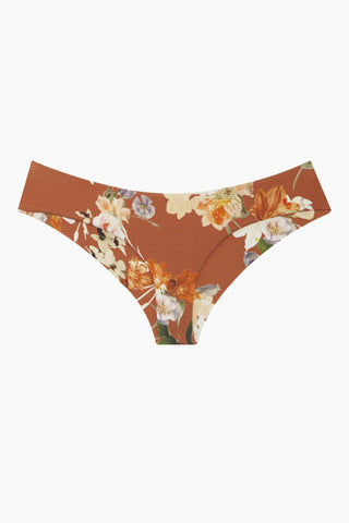 BOYS + ARROWS Yaya Pleated Bikini Bottom - Dirty Dancing Bikini Bottom | Dirty Dancing| Boys + Arrows Yaya Moderate Bikini Bottom - Dirty Dancing Wide side straps Pleated side seams  Moderate coverage  Orange with floral print Front View