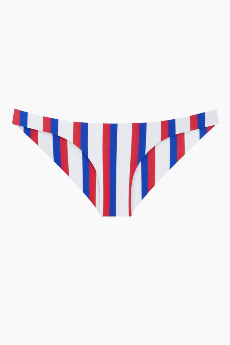 AILA BLUE Wildflower Moderate Bikini Bottom - Americana Stripe Bikini Bottom | Americana Stripe| Aila Blue Wildflower Moderate Bikini Bottom - Americana Stripe Mid Rise  Cheeky-Moderate Coverage  Front View