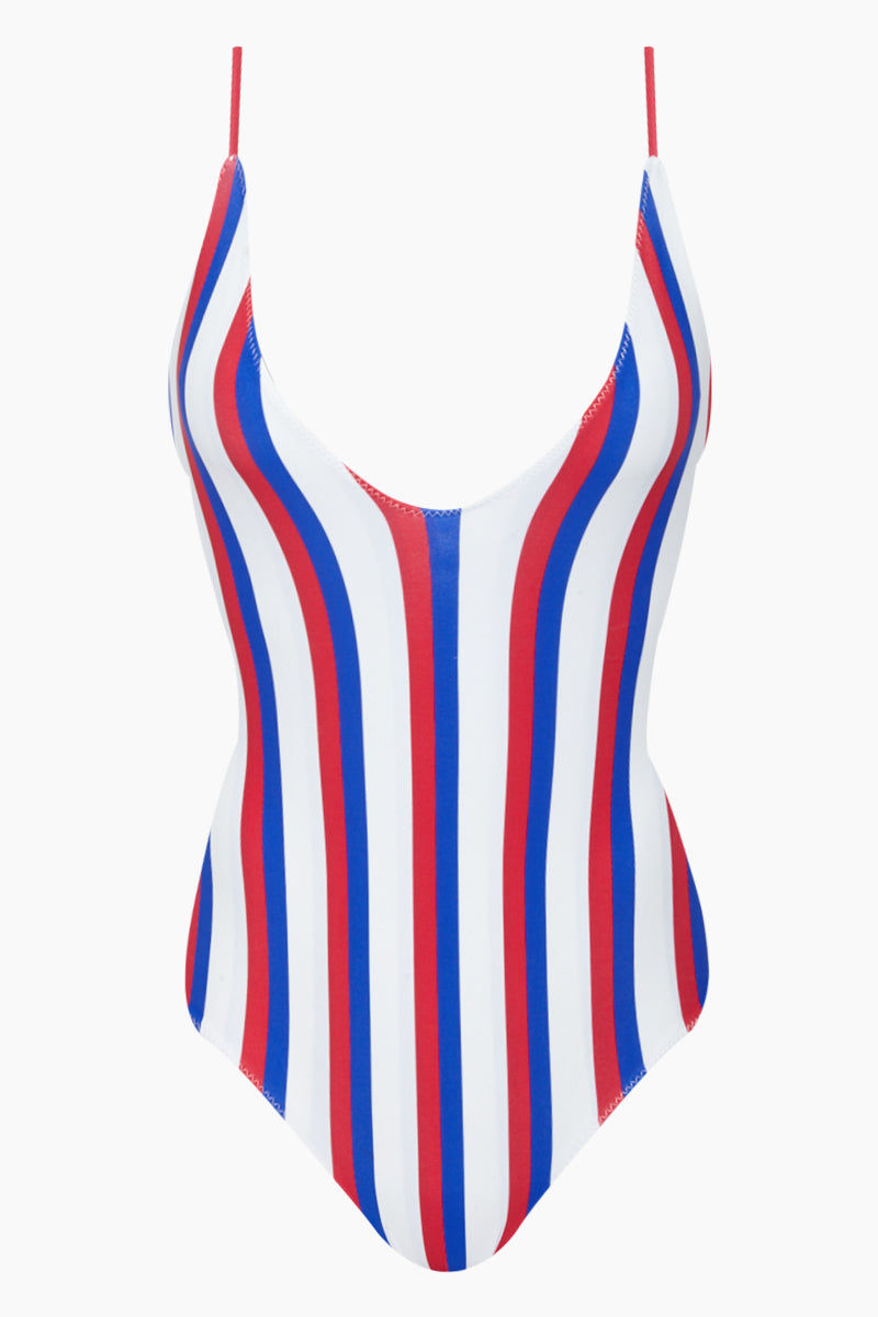 AILA BLUE Mickey Plunging One Piece Swimsuit - Americana Stripe One Piece   Americana Stripe  Aila Blue Mickey Plunging One Piece Swimsuit - Americana Stripe Plunging V Neckline  Fixed Spaghetti Straps  Moderate Coverage  80% Nylon / 20% Spandex Front View