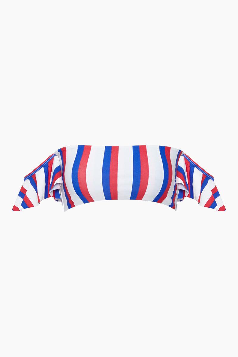 AILA BLUE Aquarius Off Shoulder Bikini Top - Americana Stripe Bikini Top | Americana Stripe| Aila Blue Aquarius Off Shoulder Bikini Top - Americana Stripe Straight Neckline Off Shoulder Ruffle Sleeves  Bandeau Style Front View