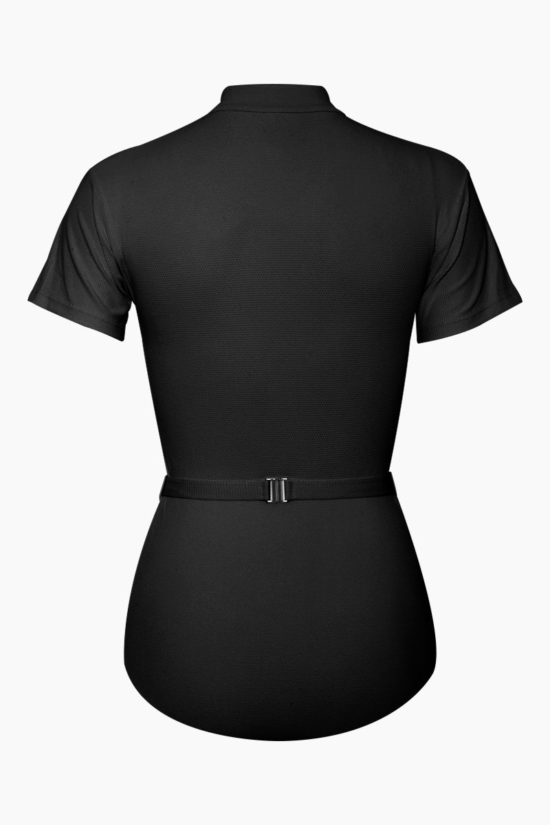 AILA BLUE Pierce Short Sleeves One Piece Swimsuit - Black Waffle One Piece | Black Waffle| Aila Blue Pierce Short Sleeves One Piece Swimsuit - Black Waffle High neck Short sleeves Belted surf suit Zipper front closure Cheeky coverage Back View
