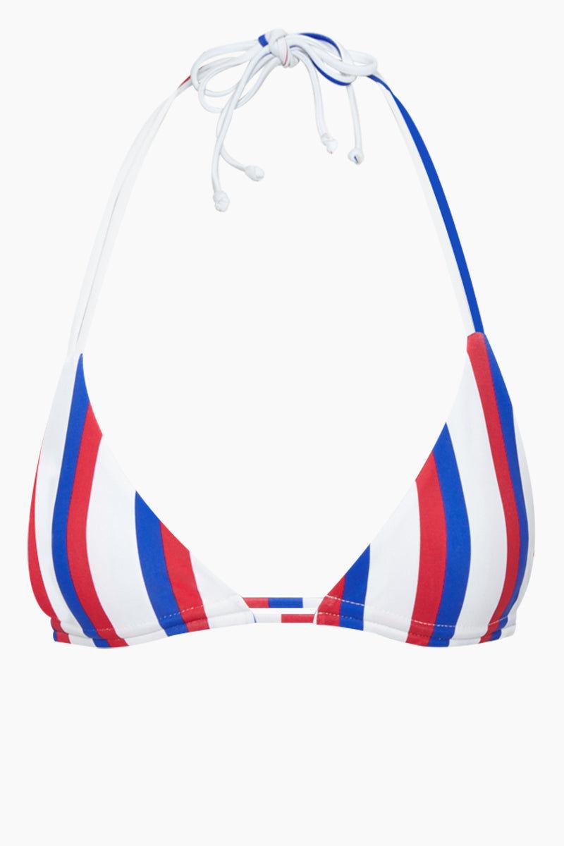 AILA BLUE Urchin Triangle Bikini Top - Americana Stripe Bikini Top | Americana Stripe| Aila Blue Urchin Triangle Bikini Top - Americana Stripe Triangle bikini top Dual adjustable straps at the neck and back Front View
