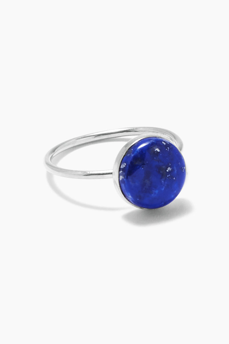 PARADIGM DESIGN Nova Ring - Silver & Moonstone Jewelry | Silver| Paradigm Design Nova Ring - Silver & Moonstone Made of sterling silver Beautiful round Moonstone cabochon Stack with your favorite bands, or wear alone for a minimal yet sleek look Front View