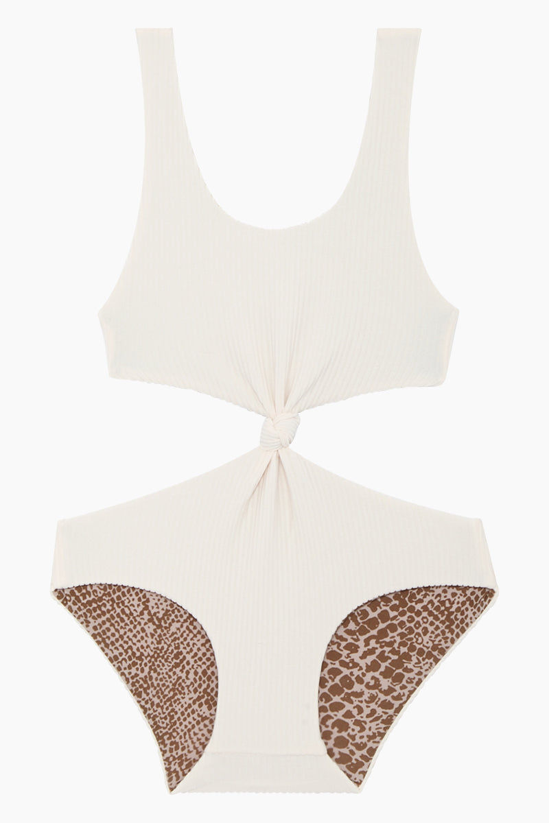 ACACIA HONEY Colombia Front Knot One Piece Swimsuit (Kids) - Pearl Cord One Piece | Pearl Cord| Acacia Honey Colombia Front Knot One Piece Swimsuit (Kids) - Pearl Cord Ribbed Fabric Knotted front detail Side cut-outs Full bottom coverage  85% Nylon, 15% Spandex  Small (2-3) Medium (3-4) Large (4-5) Front View