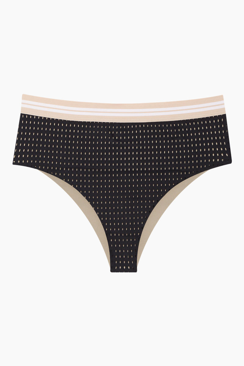 ACACIA G-Land Mid Rise Bikini Bottom - Black Mesh Bikini Bottom   Black Mesh  Acacia G-Land Mid Rise Bikini Bottom - Black Mesh Mid Rise Bikini Bottom Cheeky to Moderate Coverage  Tan Stripe Waistband  Soft Mesh Material Throughout Front View