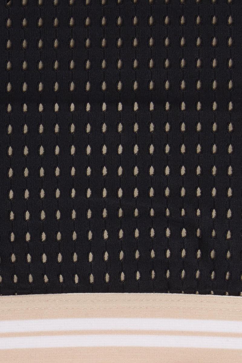 ACACIA Indo Rashgaurd Crop Top - Black Mesh Bikini Top | Black Mesh| Acacia Indo Rashgaurd Crop Top - Black Mesh Long Sleeve Crop Top  Tan Stripe Elastic Band High Neckline  Mesh Overlay Zipper Back Closure Close View