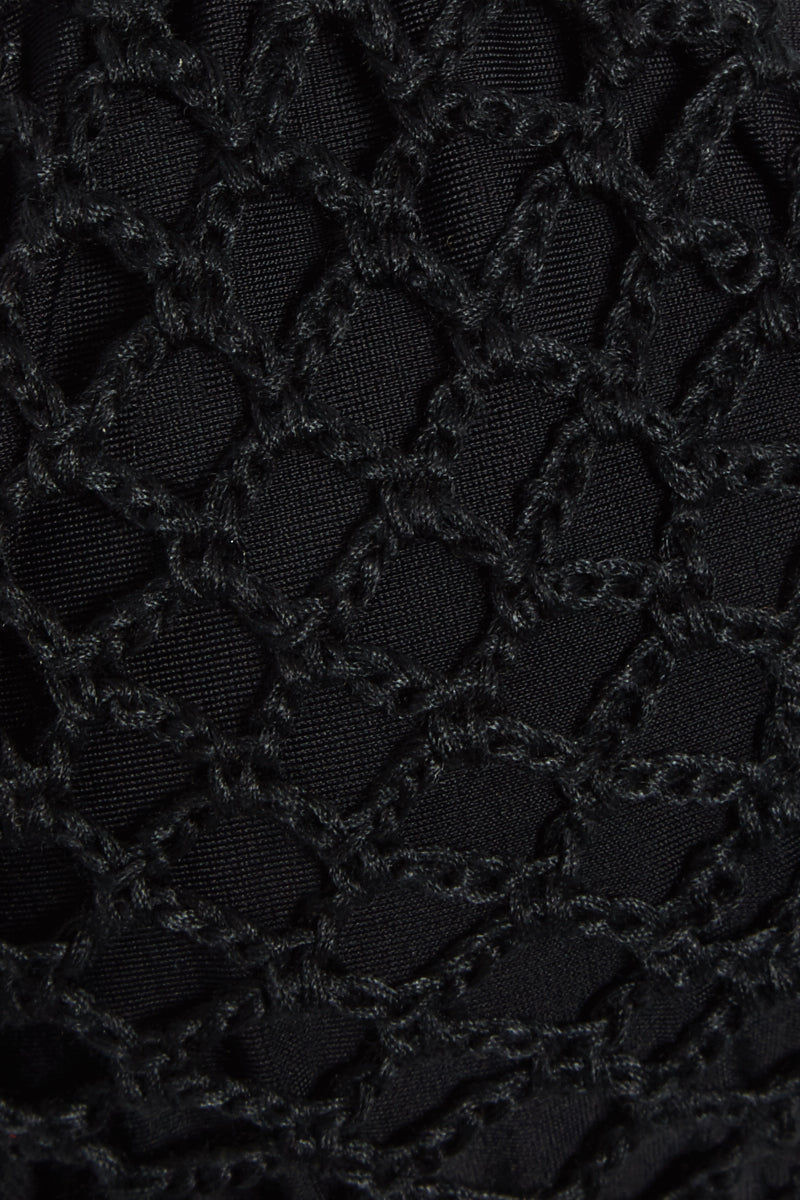 ACACIA Humuhumu Triangle Crochet Bikini Top - Black Bikini Top | Black| Acacia Humuhumu Triangle Bikini Top - Black Adjustable Triangle bikini top crochet overlay with tassel detail Close View