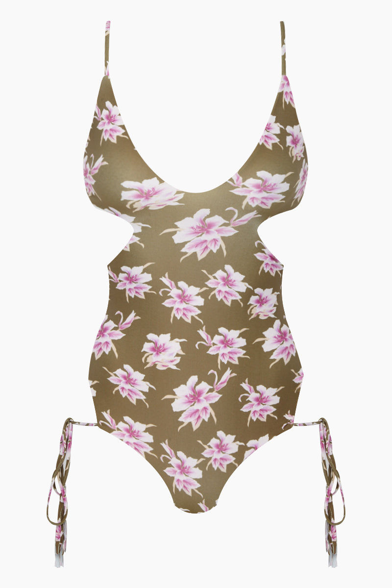ACACIA Greece Side Cut Out One Piece Swimsuit - Aloha Print One Piece | Aloha Print| Acacia Greece Side Cut Out One Piece Swimsuit - Aloha Print Low deep-v neckline Side cut outsAdjustable side ties at the hips Thin spaghetti shoulder straps Wide back strap Moderate coverage Front View