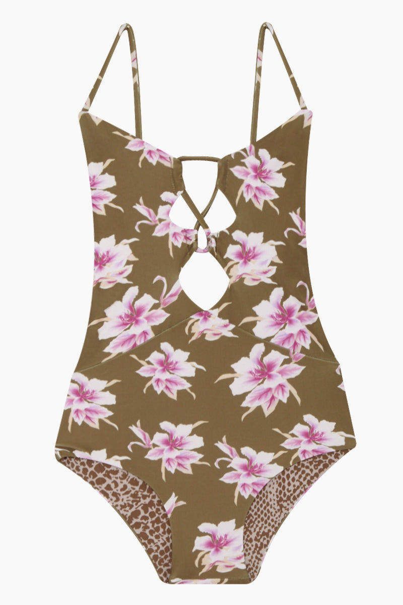 ACACIA HONEY Kokomo Strappy One Piece Swimsuit (Kids) - Aloha Print One Piece | Aloha Print| Acacia Honey Kokomo Strappy One Piece Swimsuit (Kids) - Aloha Kids One Piece Low Scoop Neckline  Strappy Front Ties & Cut Outs Thin Shoulder Straps  Front View