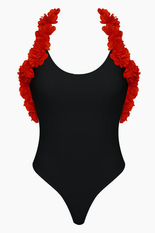 CANDY SWIMWEAR Floribean Flower Trim High Cut One Piece Swimsuit - Black/Red One Piece | Black/Red| Candy Swimwear Floribean Flower Trim High Cut One Piece Swimsuit - Black/Red Scoop Neckline Floral Trim Low Scoop Back High Cut Leg Cheeky Coverage Front View