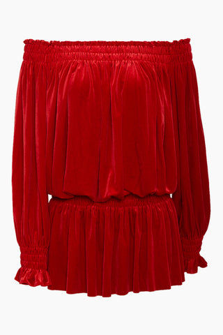 NORMA KAMALI Peasant Velvet Off Shoulder Mini Dress - Tango Red Dress | Tango Red| Norma Kamali Off Shoulder Velvet Peasant Dress - Tango Red Tango mini dress with gathered fabric detailing. Straight shirred elastic neckline can be worn high and relaxed, or as a sexy off-the-shoulder look. Stretchy shirred waistline sits low on the hips in a soft, forgiving fit. Lightly pleated mini skirt is flirty yet effortless. Long sleeves with elasticized cuffs and ruffle trim complete the girly feel. Front View