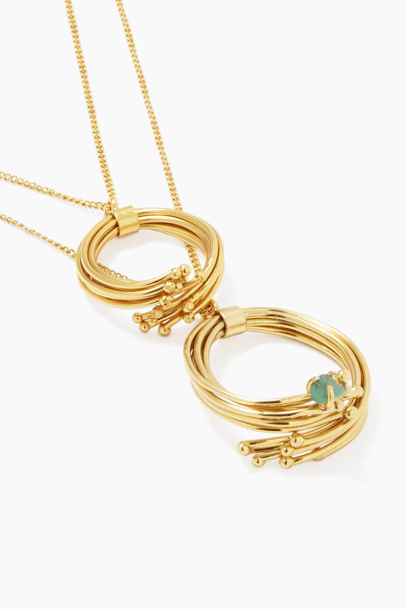 FENOMENA Emeralds Geo Necklace - Gold Jewelry | Gold| Emeralds Geo Necklace - Gold Gold Layered Chain Necklace Gold Wired Loop Detail  Emerald Gemstone Detail  Gold Clasp Closure Front View