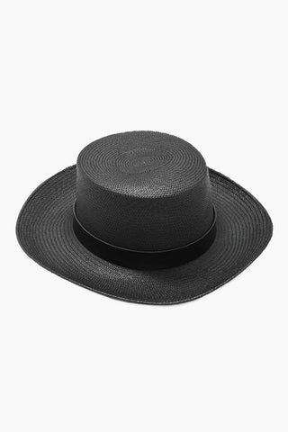KAYU Palenque Straw Boater Hat - Black Hat | Black| Kayu Palenque Hat - Black Classic Boater hat Made of Toquilla straw and features a leather band Handcrafted by skilled artisans in Ecuador Size Guide:   56-57 cm with adjustable band One size fits most  Front View