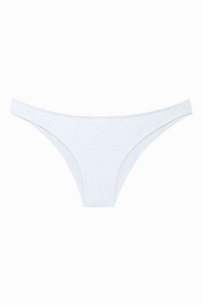 BEACH JOY Textured Material Low Rise Bikini Bottom - White Bikini Bottom | White| Beach Joy Textured Material Bikini Bottom - White Low Rise Bikini Bottom  Cheeky Coverage  Textured Detail  Front View