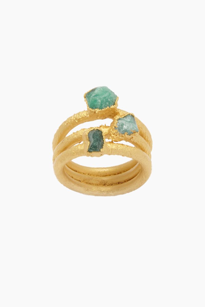 FENOMENA 3 Emerald Ring - Emerald Jewelry | Emerald| 3 Emerald Ring - Emerald Layered Gold Ring  3 Emerald Stones Front View