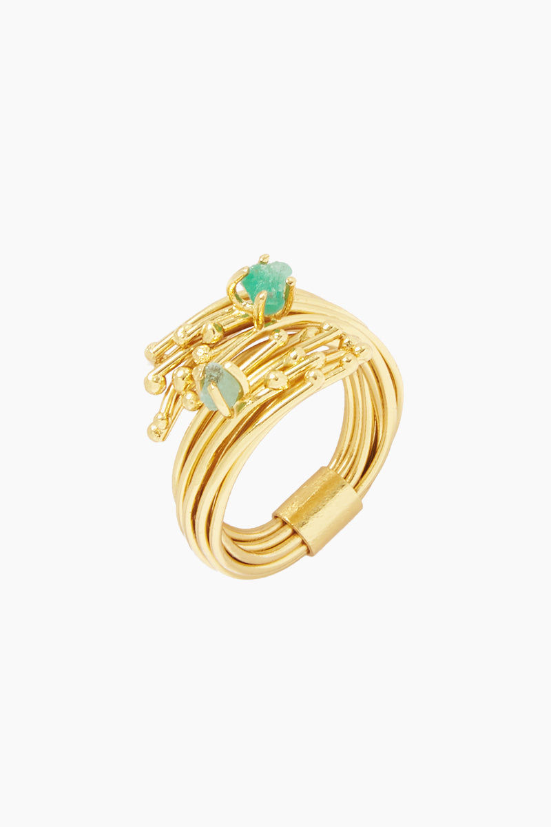 FENOMENA Emerald Geo Ring - Gold Jewelry | Gold| Emerald Geo Ring - Gold Gold Layered Wire Ring  Emerald Gem Stone Detail Front View