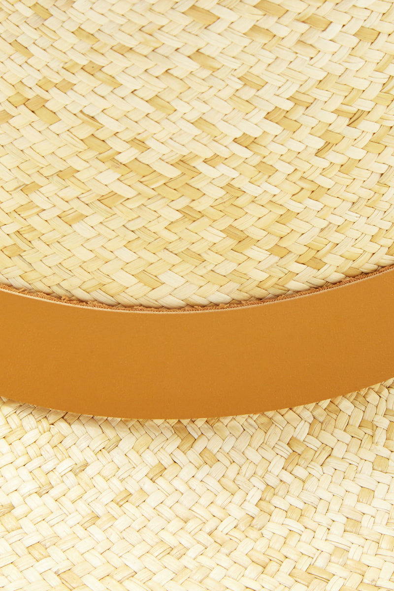 KAYU Palenque Straw Boater Hat - Natural/Tan Hat   Natural/Tan  Kayu Palenque Hat - Natural Classic Boater hat Made of Toquilla straw and features a leather band Handcrafted by skilled artisans in Ecuador Size Guide:   56-57 cm with adjustable band One size fits most  Close View