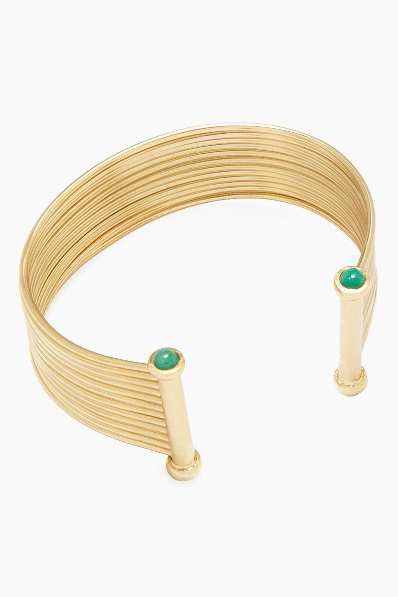 FENOMENA Emerald New Geo Bracelet - Gold Jewelry   Gold  Emerald New Geo Bracelet - Gold Thick Gold Wired Cuff Emerald Gemstone Detail Front View