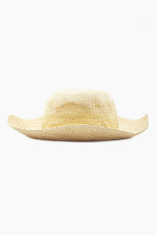 KAYU Cristobal Straw Sun Hat - Natural Hat | Natural| Kayu Cristobal Hat - Natural Loosely formed hat with large brim Made of Toquilla straw Handcrafted by skilled artisans in Ecuador Size Guide:   56-57 cm with adjustable band One size fits most Side View