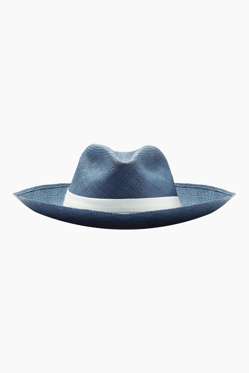 KAYU Coiba Straw Panama Hat - Blue Hat | Blue| Kayu Coiba Hat - Blue This classic Panama hat Made of Toquilla straw and features a grosgrain band Handcrafted by skilled artisans in Ecuador Size Guide:   56-57 cm with adjustable band One size fits most  Front View