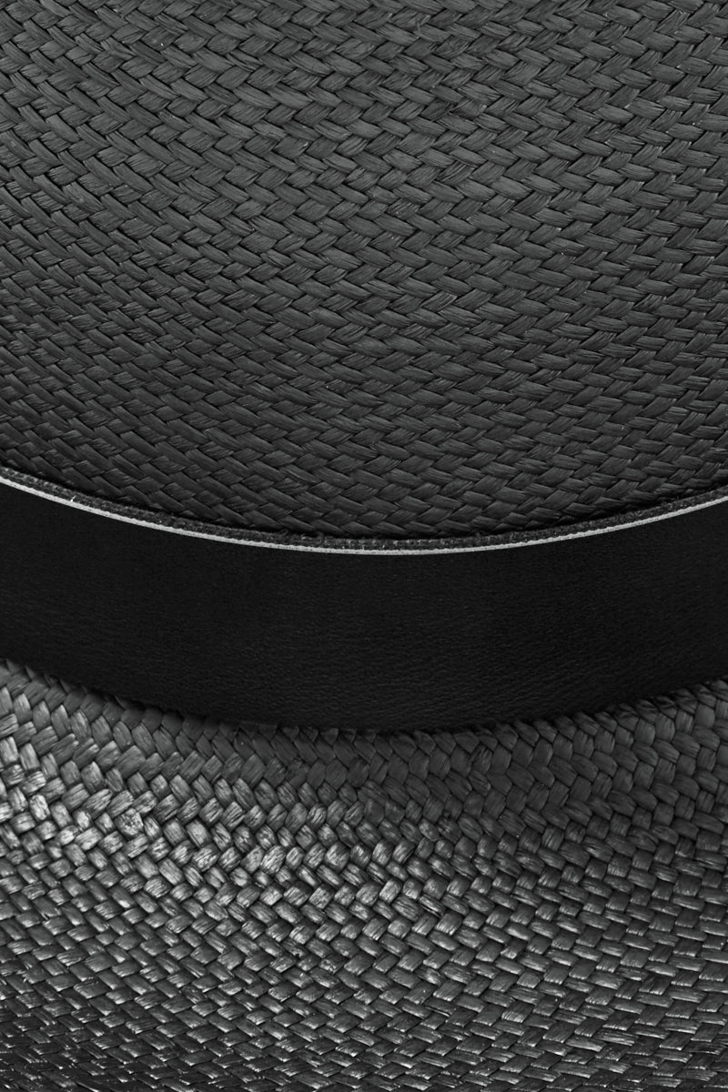 KAYU Palenque Straw Boater Hat - Black Hat | Black| Kayu Palenque Hat - Black Classic Boater hat Made of Toquilla straw and features a leather band Handcrafted by skilled artisans in Ecuador Size Guide:   56-57 cm with adjustable band One size fits most  Close View
