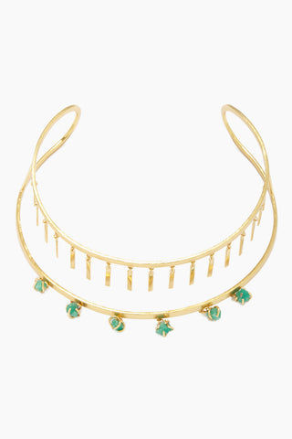 FENOMENA Zannia Choker - Gold Jewelry | Gold| Fenomena Zannia Choker - Gold Gold Choker  Gold Dangling Rectangle Charms  Emerald Gemstone Detail  Front View