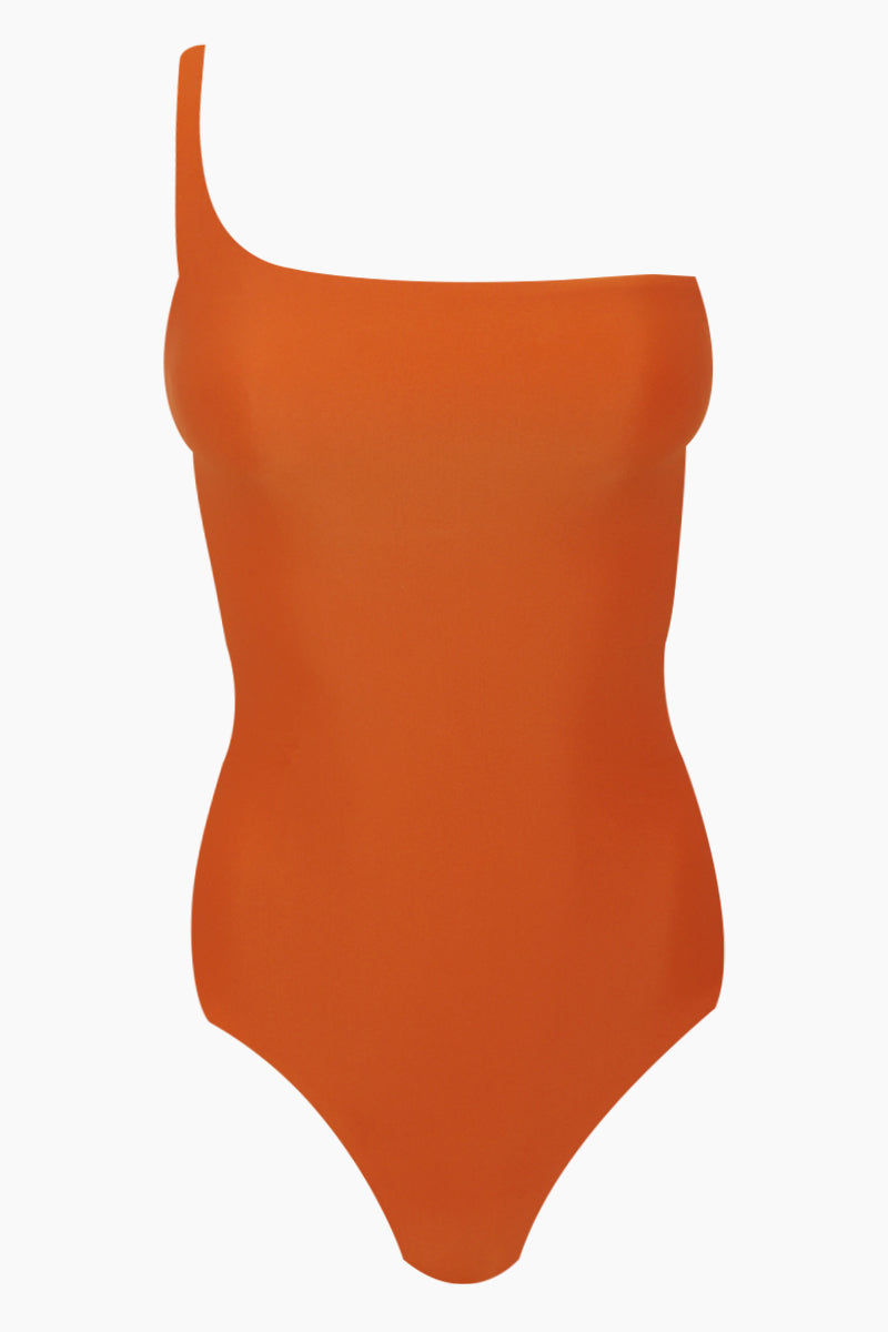 JADE SWIM Apex One Shoulder One Piece Swimsuit - Amber Orange One Piece | Amber Orange| Jade Swim Apex One Shoulder One Piece Swimsuit - Amber Orange * Asymmetrical one shoulder one piece swimsuit inamberorange. * Double back straps * Easy pull-on design made from luxe sustainable UV-protective Italian techno-fabric with shape retention technology to smooth and sculpt your body. * Moderate rear cut shows off your curves while providing cheeky coverage. Front View