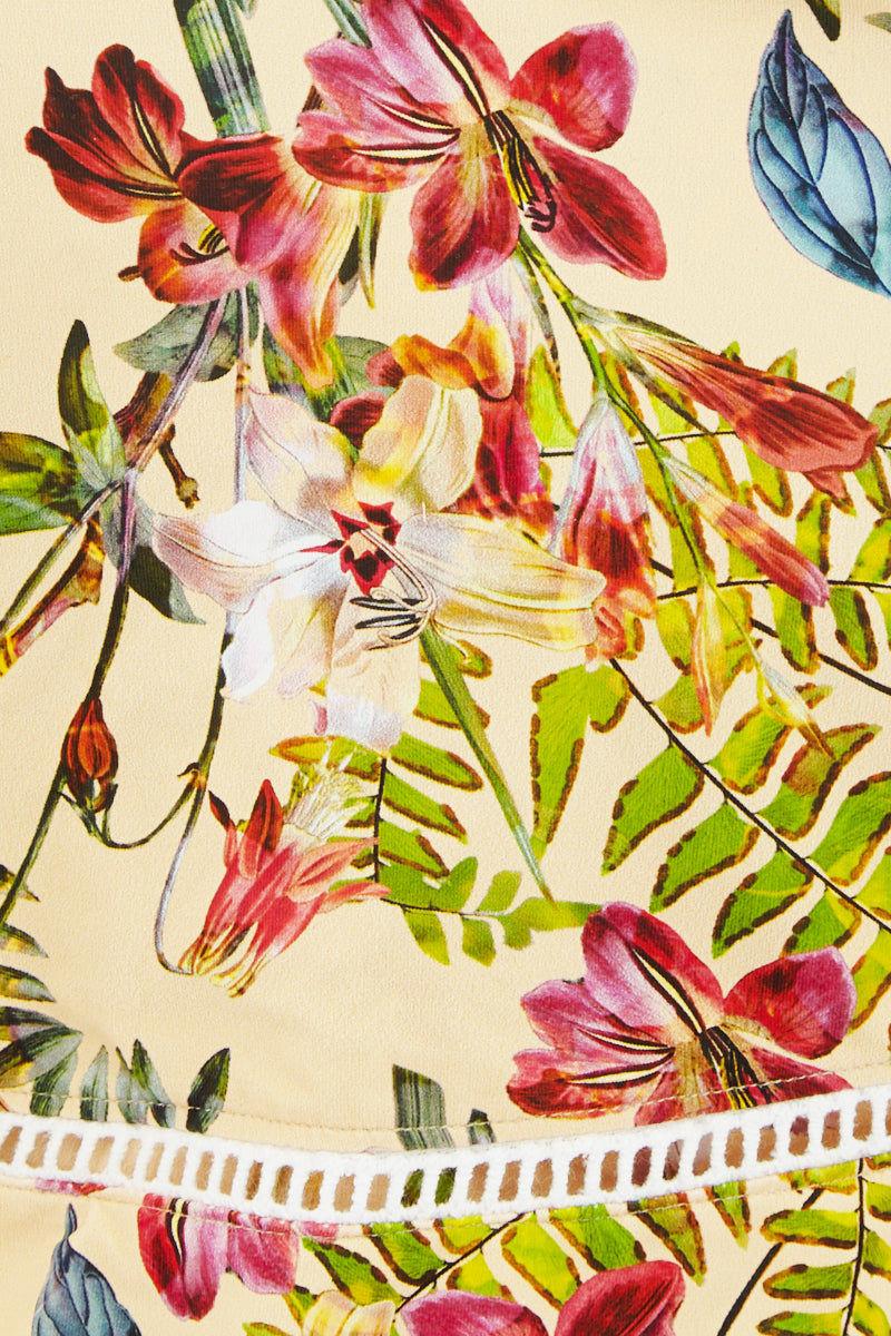 QUINTSOUL Bandeau Lattice Trim Ruffle Bikini Top - Romance Floral Bikini Top   Romance Floral  Quint Soul Bandeau Lattice Trim Ruffle Bikini Top - Romance Floral Bandeau Style  Removable Shoulder Straps  Ruffle Overlay Detail  Lattice Trim Close View