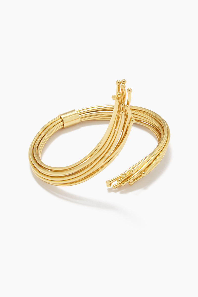FENOMENA Ale Geo Bracelet - Gold Jewelry | Gold| Ale Geo Bracelet - Gold Asymmetric Layered Gold Curved Bracelet Front View
