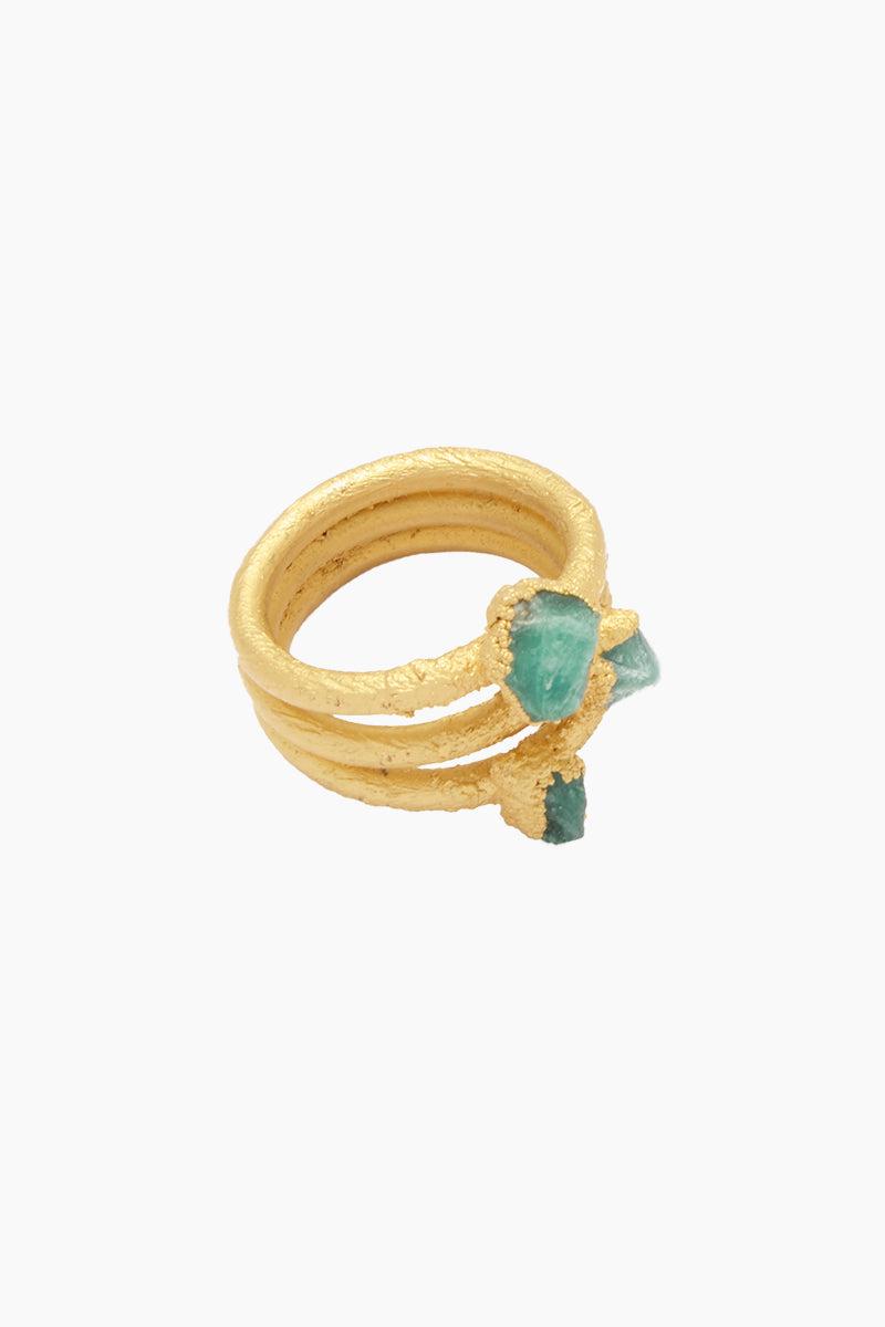 FENOMENA 3 Emerald Ring - Emerald Jewelry | Emerald| 3 Emerald Ring - Emerald| 3 Emerald Ring - Emerald Layered Gold Ring  3 Emerald Stones Front View