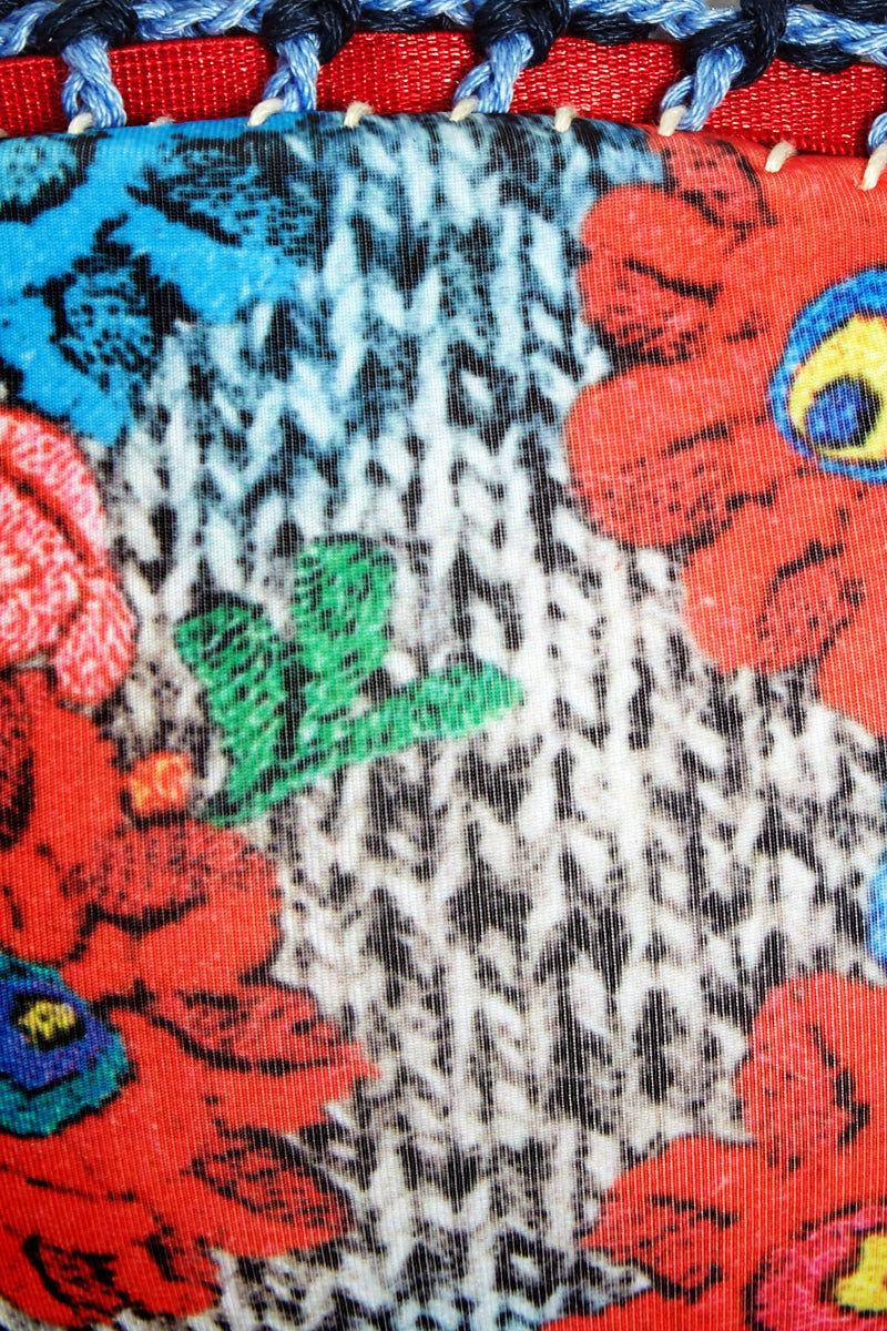 CANDY SWIMWEAR Fiamma Crochet Off Shoulder Bandeau Bikini Top - Blue & Red Floral Print Bikini Top | Blue & Red Floral Print| Candy Swimwear Fiamma Crochet Off Shoulder Bandeau Bikini Top - Blue & Red Floral Print Slight Sweetheart Neckline Off Shoulder Sleeves Bandeau Style Crochet Detail  Handmade in Peru Front View