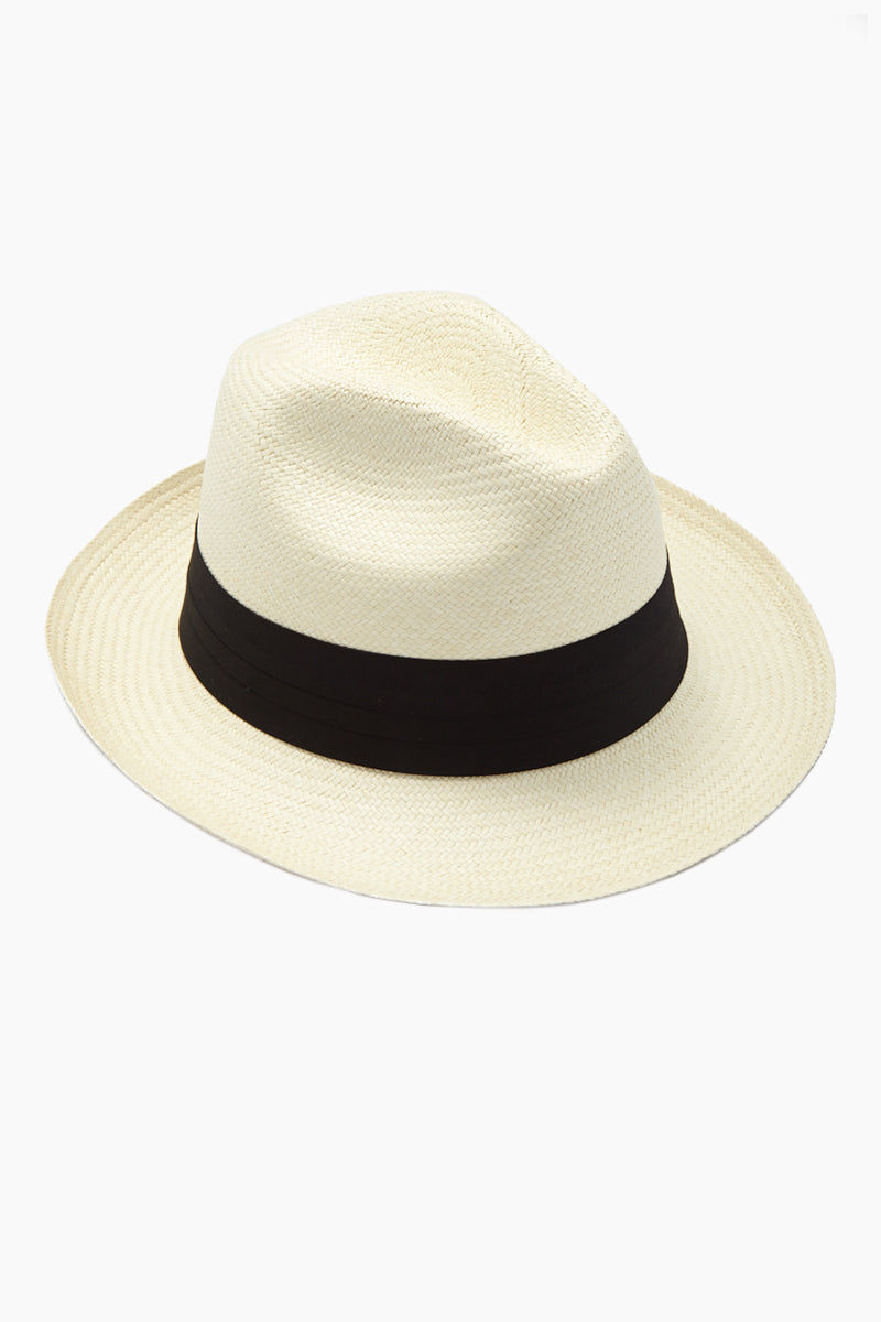 KAYU Del Rey Straw Panama Hat - Natural/Black Hat | Natural/Black| Kayu Del Rey Hat - Natural/ Black Classic Panama hat Made of Toquilla straw and features a grosgrain band Handcrafted by skilled artisans in Ecuador Size Guide:   56-57 cm with adjustable band One size fits most  Side View