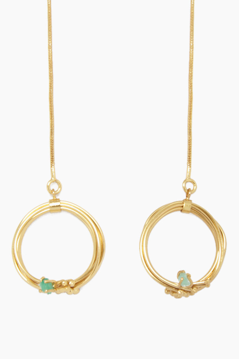 FENOMENA Emerald Geo Long Necklace - Gold Jewelry | Gold| Emerald Geo Long Necklace - Gold Long Gold Necklace Gold Wired Loop With Emerald Stone Detail Front View