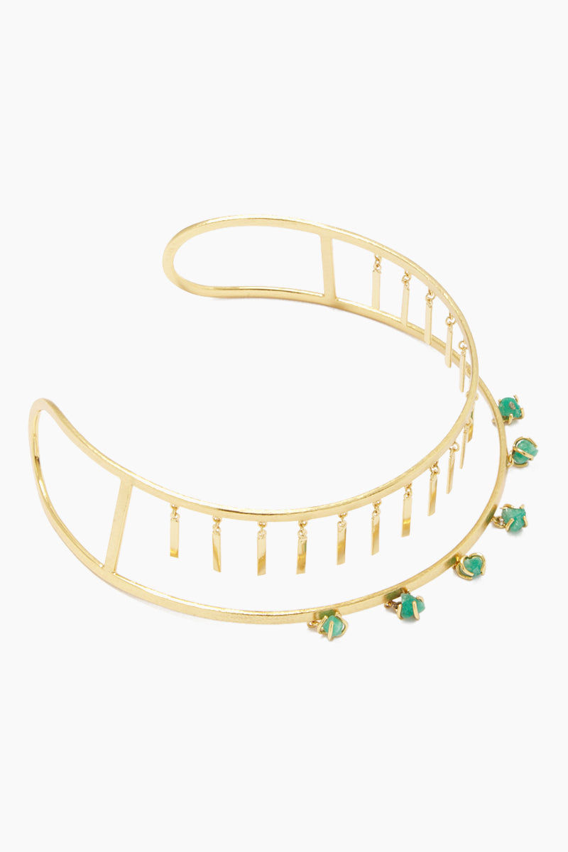 FENOMENA Zannia Choker - Gold Jewelry | Gold| Fenomena Zannia Choker - Gold Gold Choker  Gold Dangling Rectangle Charms  Emerald Gemstone Detail  Side View