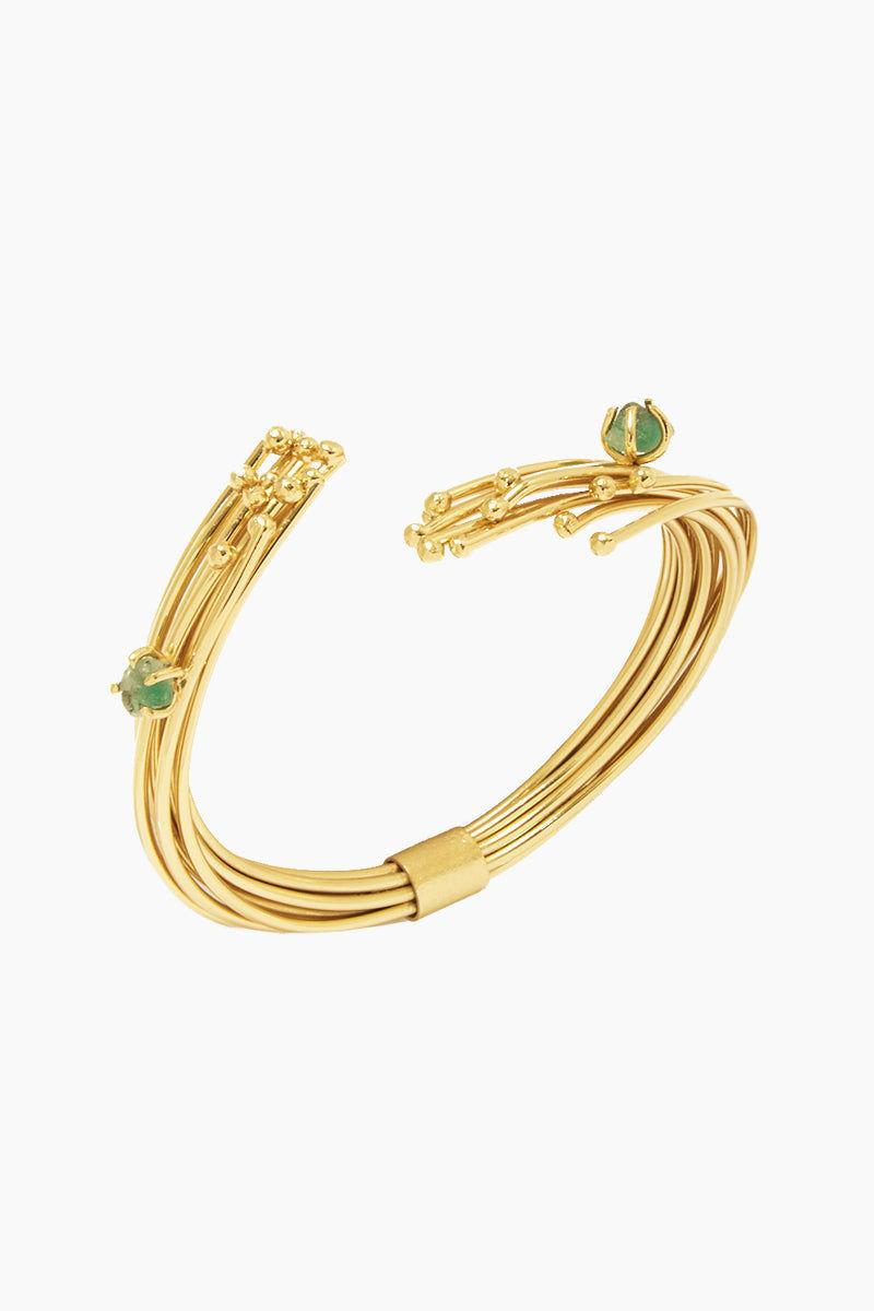 FENOMENA Emerald Geo Bracelet - Gold Jewelry | Gold| Emerald Geo Bracelet - Gold Gold Layered Wire Bracelet Cuff Emerald Stone Detail Front View