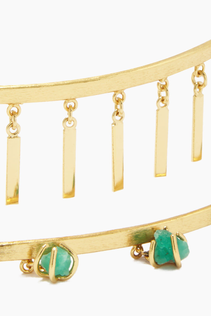 FENOMENA Zannia Choker - Gold Jewelry | Gold| Fenomena Zannia Choker - Gold Gold Choker  Gold Dangling Rectangle Charms  Emerald Gemstone Detail  Close View